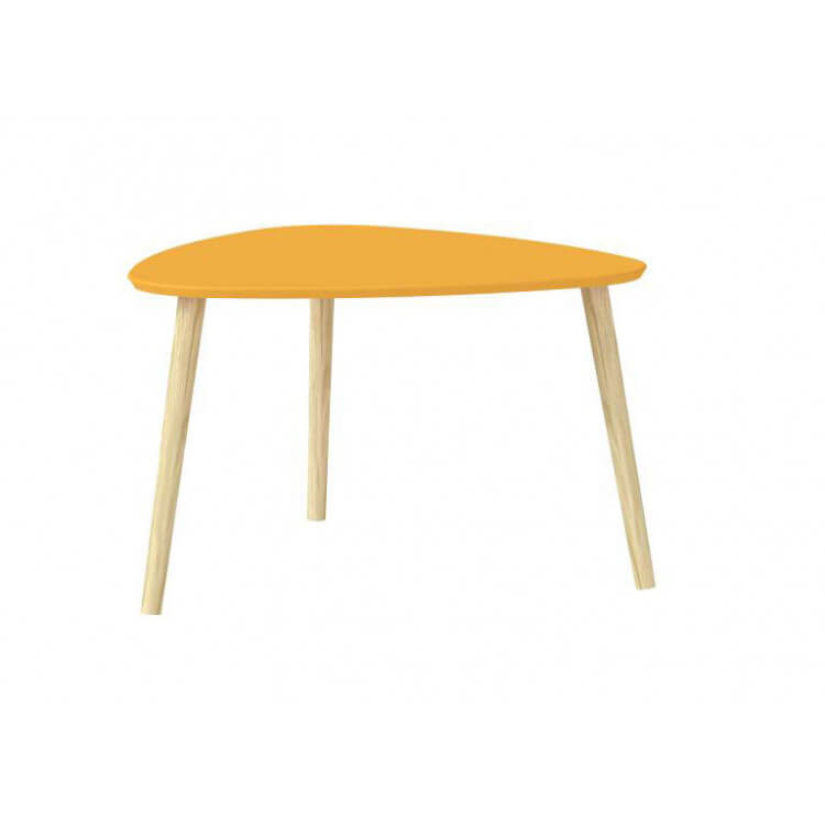 Table basse design en bois massif coloris orange Mirella