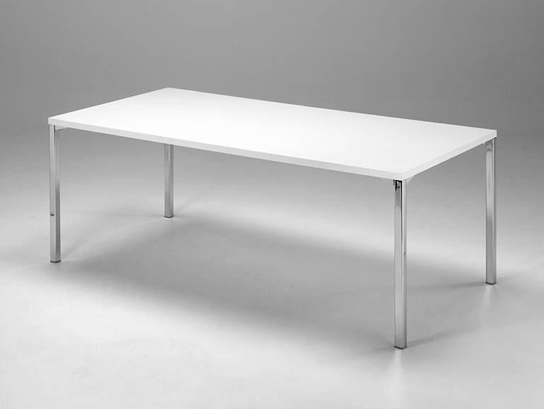 Table de salle à manger design en métal chromé et bois blanc Aurélia