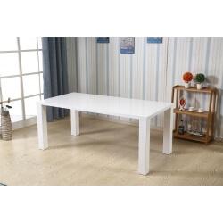Table de salle à manger rectangulaire design laquée blanche Effira