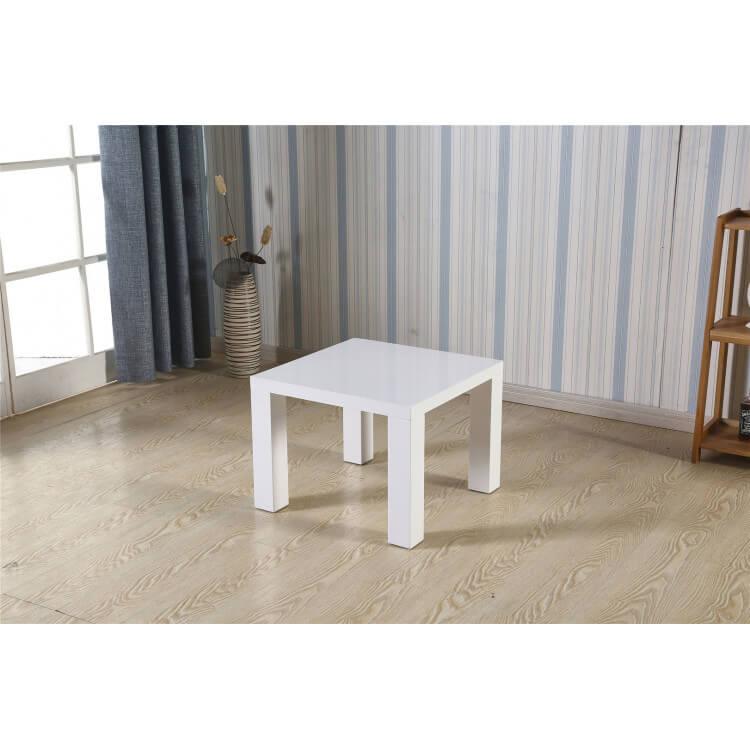 Table basse carrée design laquée blanche Naomie