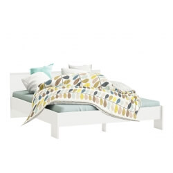 Lit adulte contemporain coloris blanc Gary