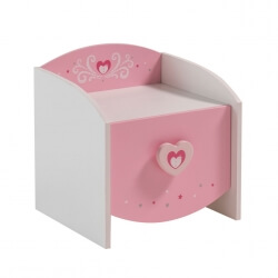 Chevet enfant contemporain coloris blanc/rose Cecilia