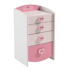 Commode enfant contemporaine coloris blanc/rose Cecilia