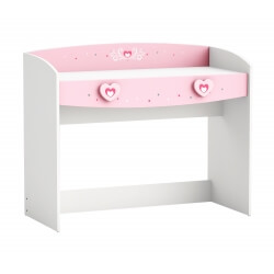 Bureau enfant contemporain coloris blanc/rose Cecilia