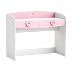 Bureau enfant contemporain coloris blanc/rose Cecilia