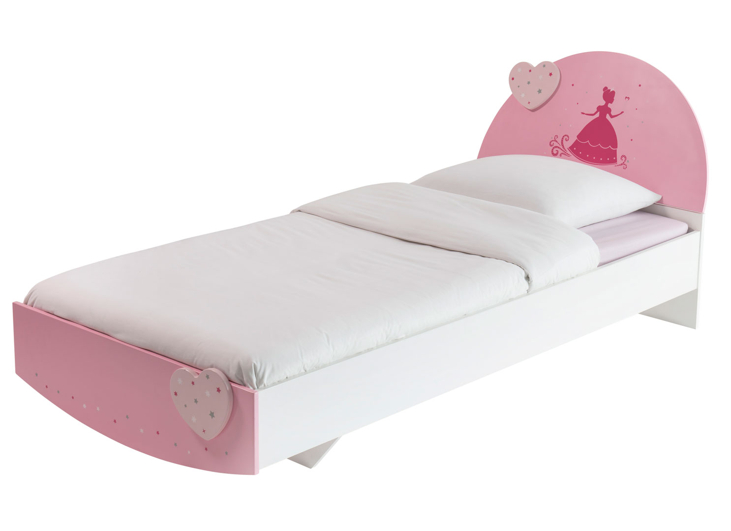 Lit enfant contemporain coloris blanc/rose Cecilia