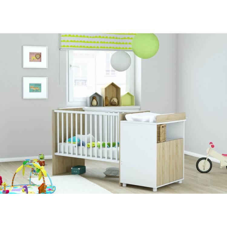 Lit bébé évolutif contemporain coloris chêne brossé/blanc Eliot