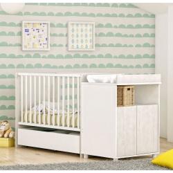 Lit bébé évolutif contemporain coloris pin andersen/blanc Eliot