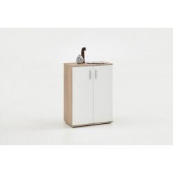 Meuble de rangement contemporain 2 portes coloris blanc/chêne Candice