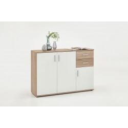 Meuble de rangement contemporain 3 portes/2 tiroirs coloris blanc/chêne Candice