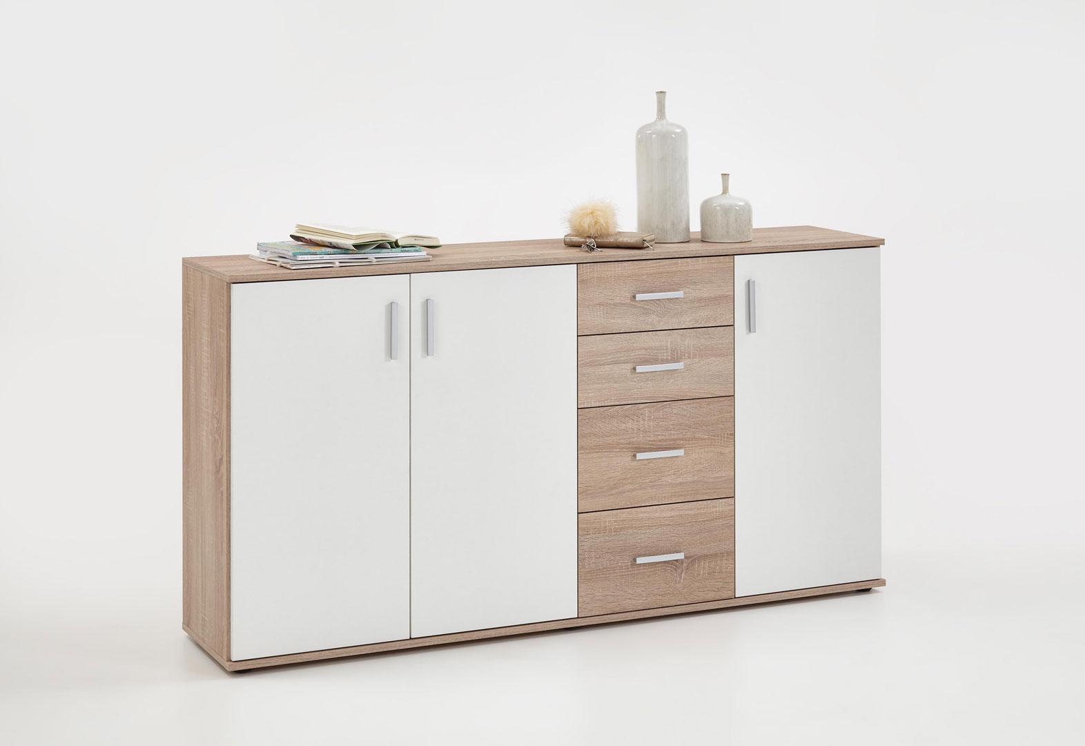 Meuble de rangement contemporain 3 portes/4 tiroirs coloris blanc/chêne Candice