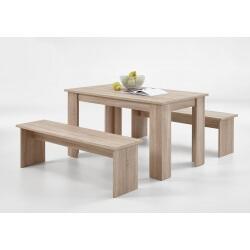 Ensemble contemporain table et bancs coloris chêne Oléron