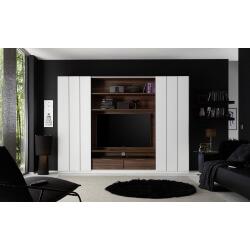Banc TV design coloris noyer/blanc mat Saturne