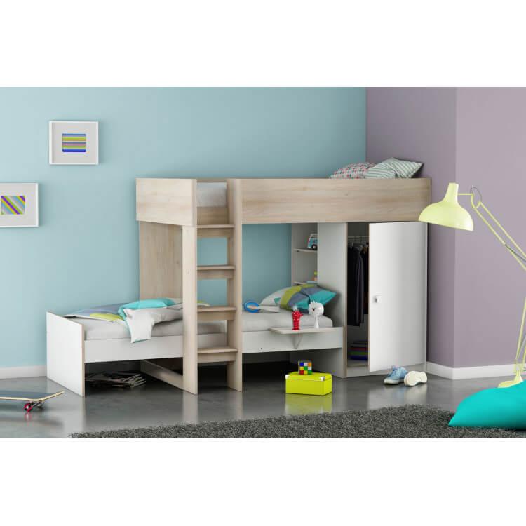 Lits superposés modulables contemporains enfant coloris blanc/acacia Louison