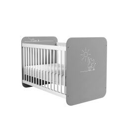 Lit bébé à barreaux contemporain coloris blanc/gris Girouette