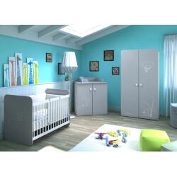 Chambre bébé contemporaine coloris blanc/gris Girouette