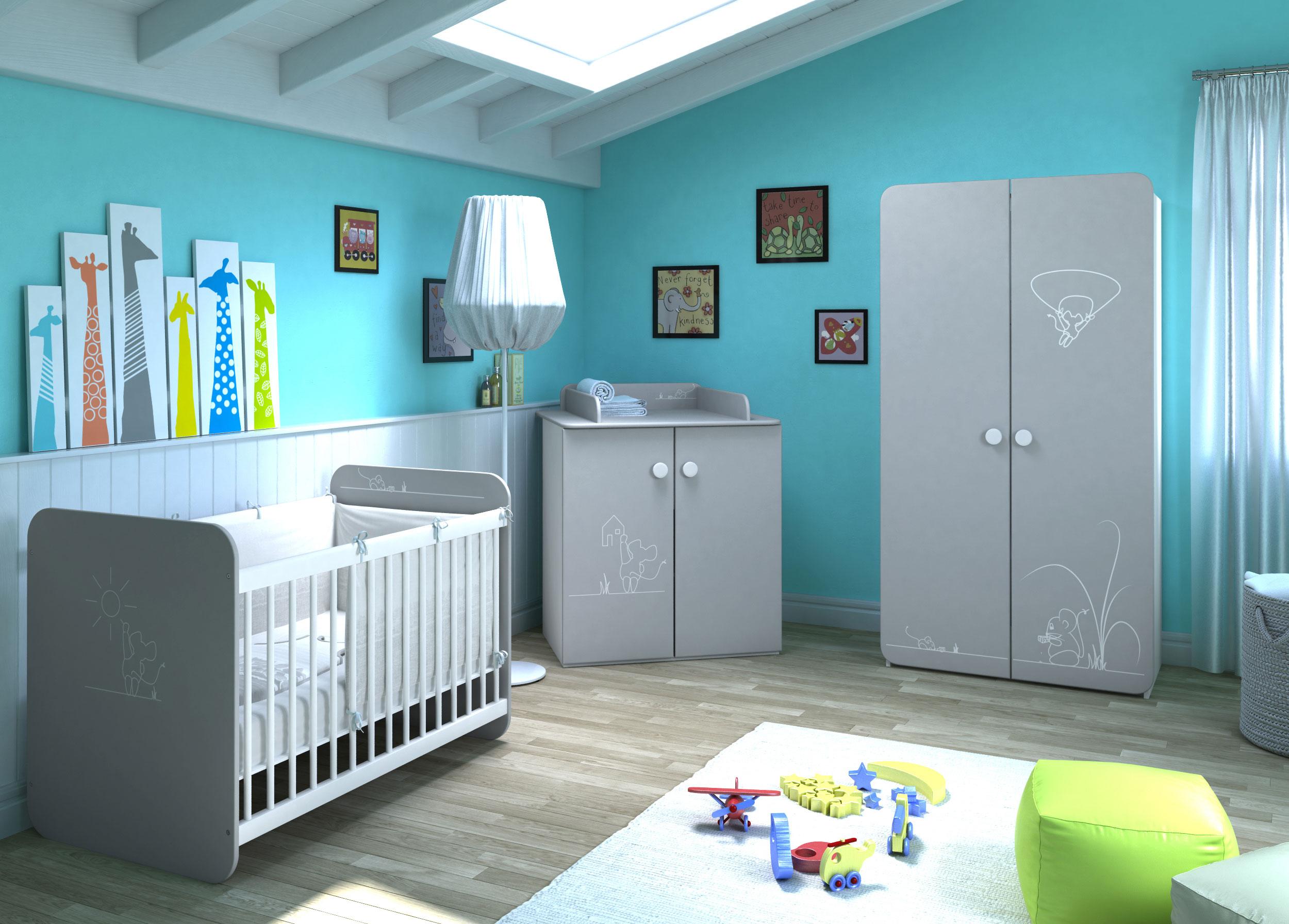Genial Chambre Bébé Contemporaine Coloris Blanc/gris Girouette