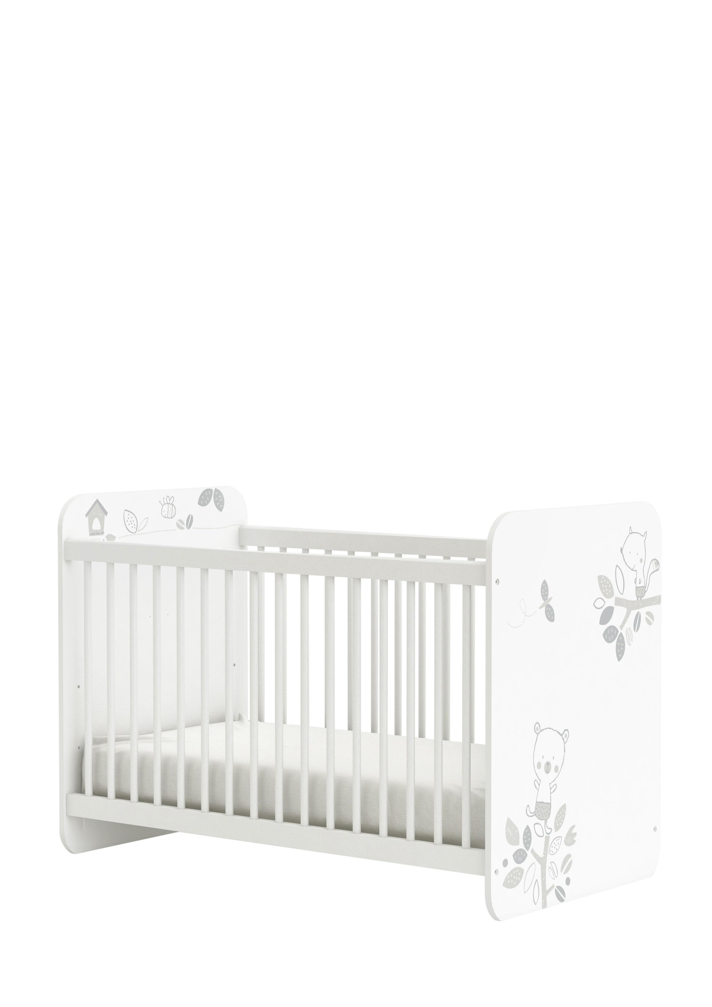 Lit bébé à barreaux contemporain coloris blanc Papyrus
