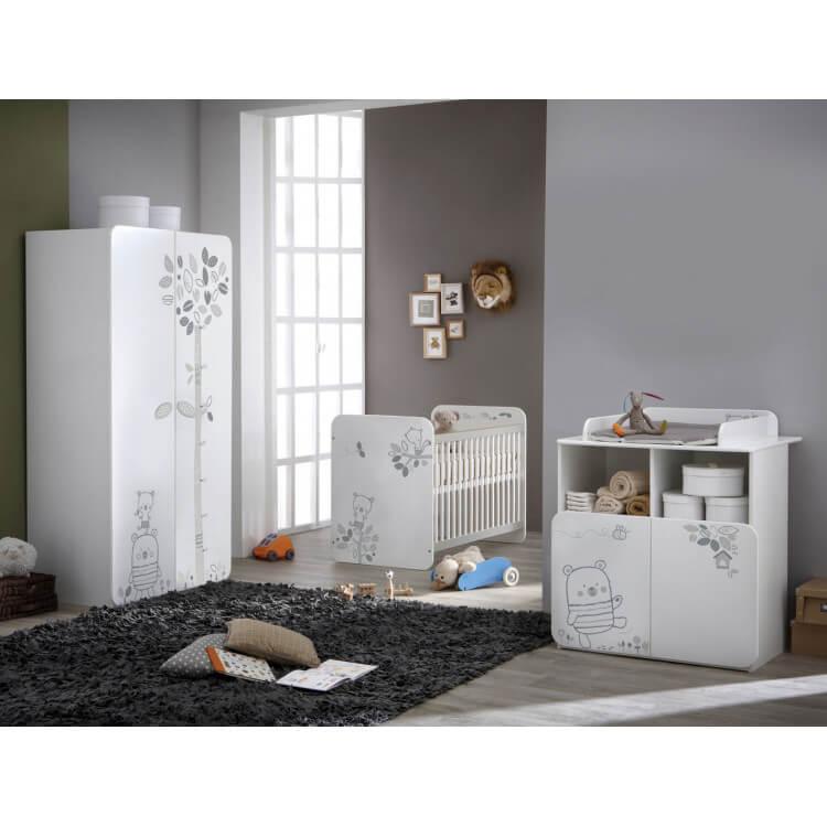 Chambre bébé contemporaine coloris blanc Papyrus