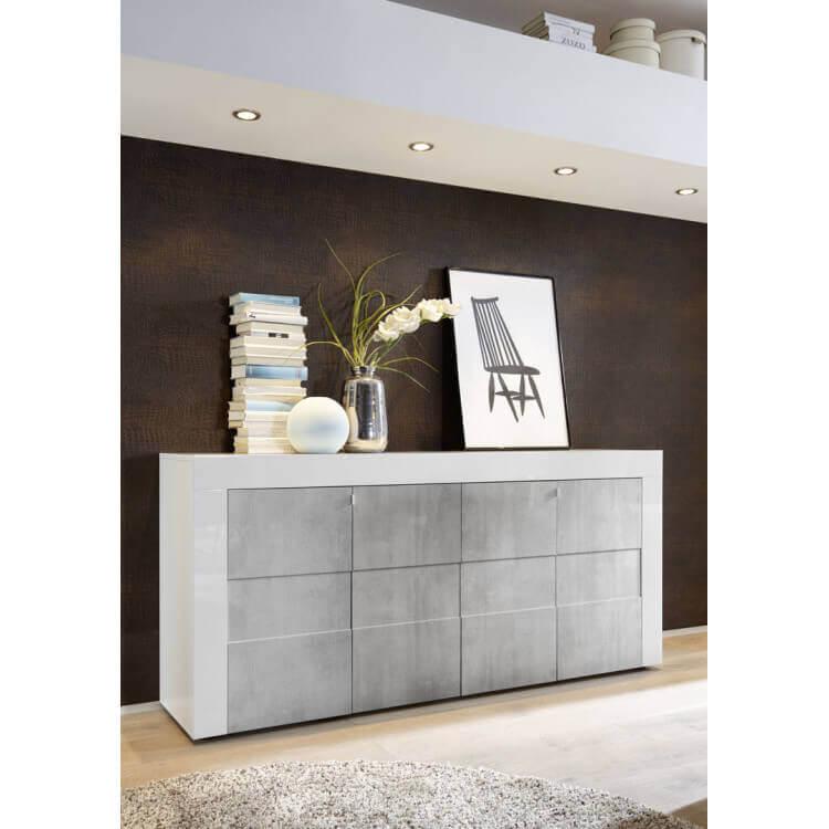 Buffet/bahut design 4 portes laqué blanc brillant/béton Meline