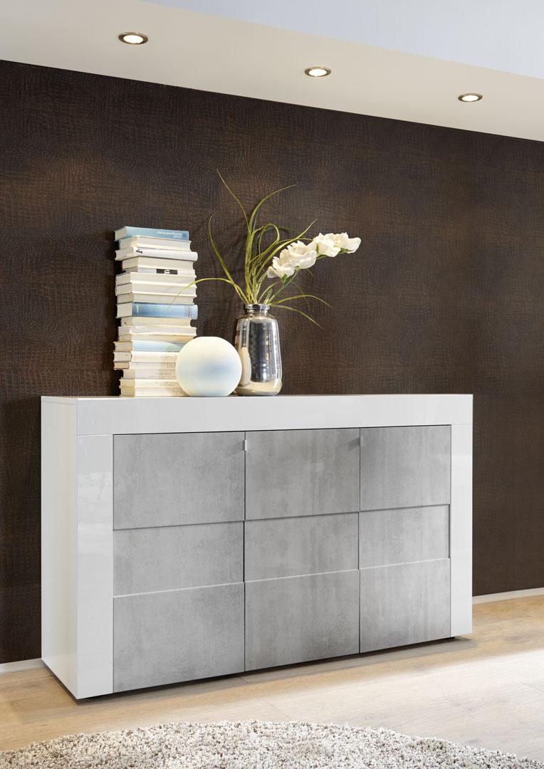 Buffet/bahut design 3 portes laqué blanc brillant/béton Meline