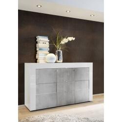 Buffet/bahut design 2 portes/3 tiroirs laqué blanc brillant/béton Meline