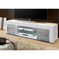 Meuble TV design 180 cm laqué blanc brillant/béton Meline
