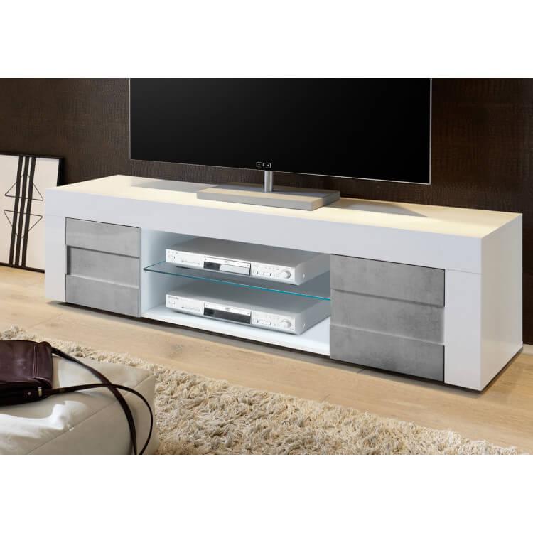 Meuble Tv Design 180 Cm Laque Blanc Brillant Beton Meline Matelpro