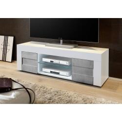 Meuble TV design 138 cm laqué blanc brillant/béton Meline
