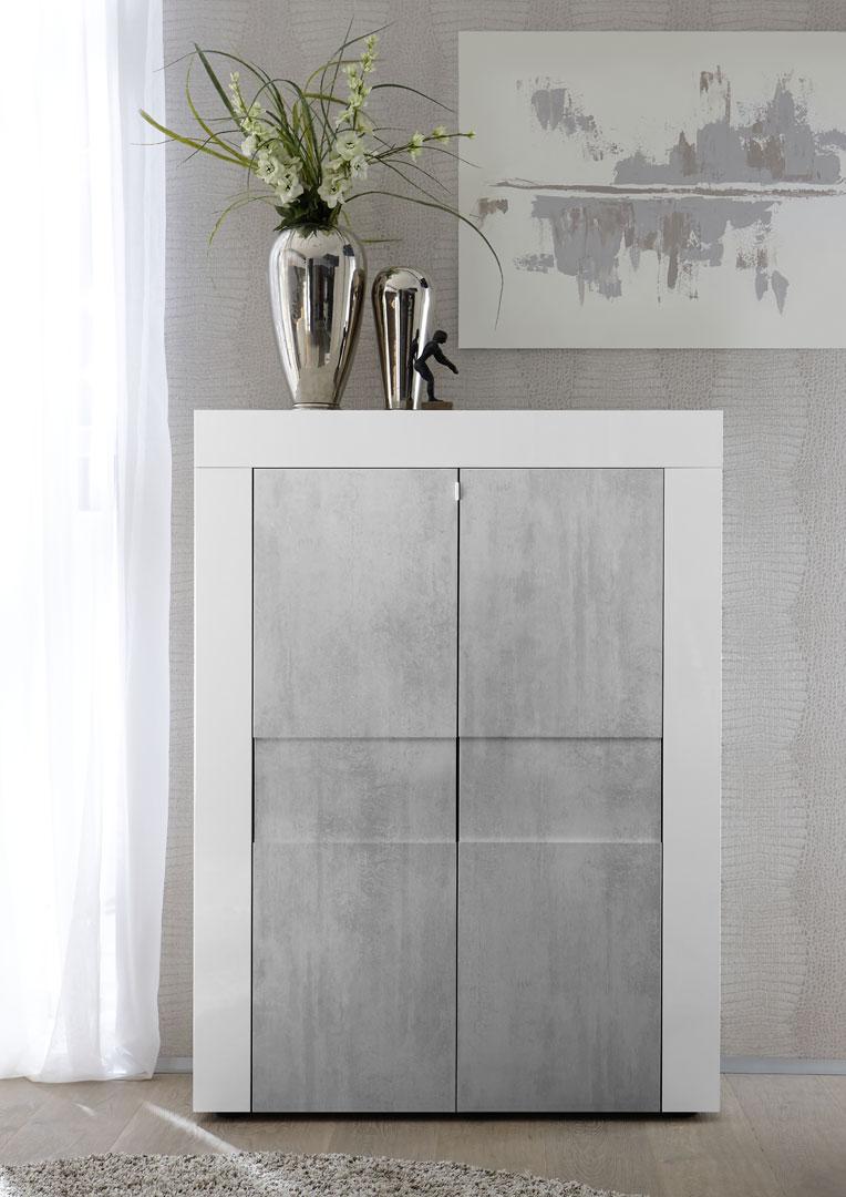 Vaisselier/argentier design laqué blanc brillant/béton Meline