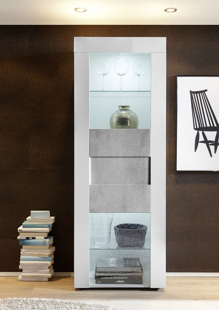 Vitrine design 1 porte laqué blanc brillant/béton Meline