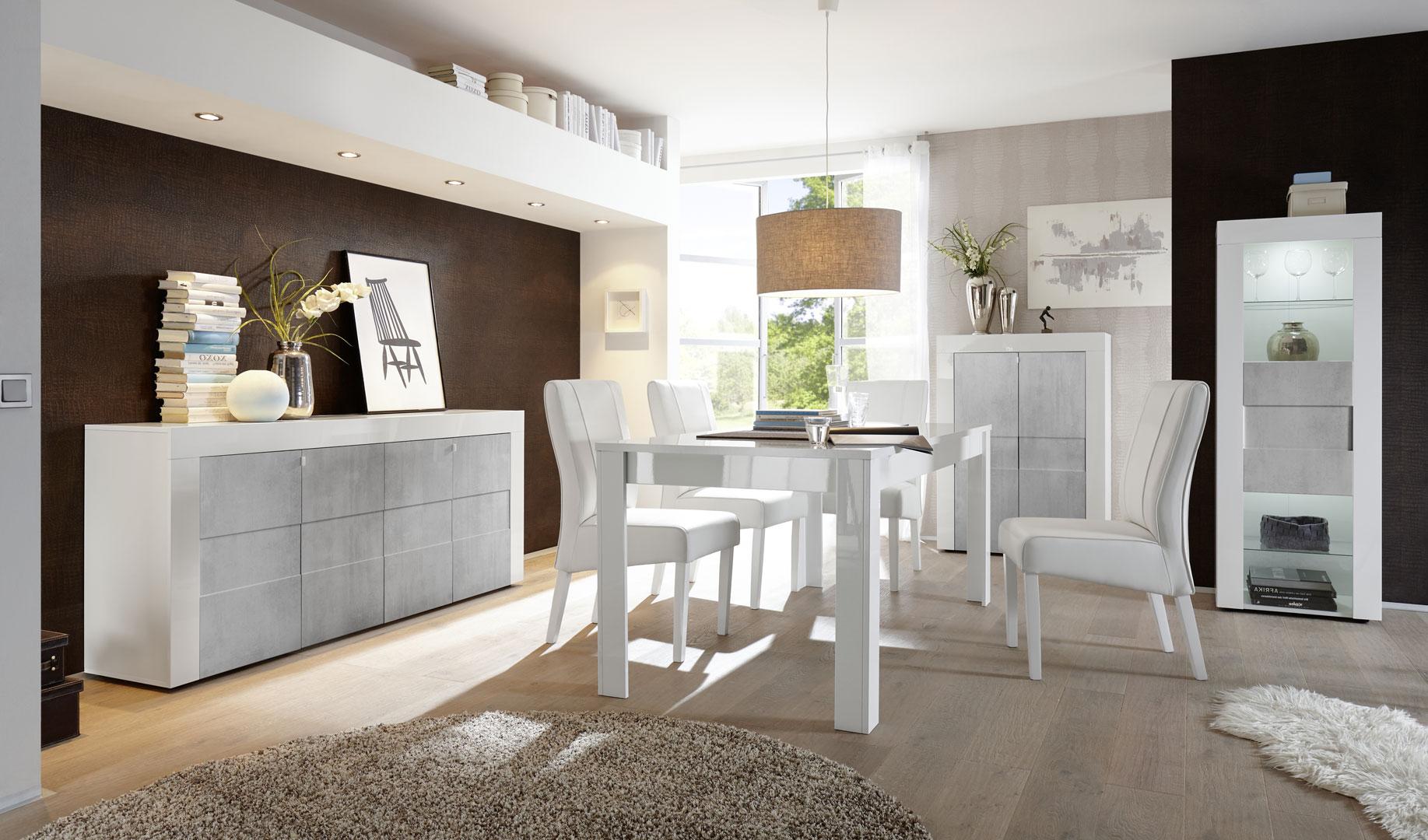 Salle à manger design laqué blanc brillant/béton Meline