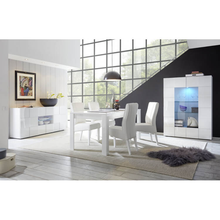 Salle à manger design laqué blanc brillant Milenor