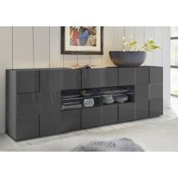 Buffet/bahut design 2 portes/4 tiroirs laqué gris brillant Sabrina