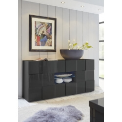 Buffet/bahut design 2 portes/2 tiroirs laqué gris brillant Sabrina