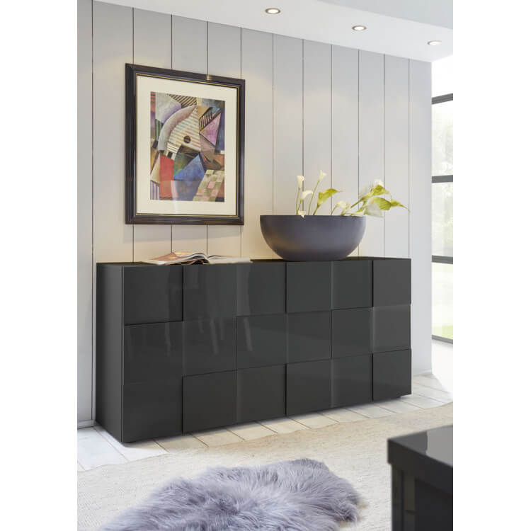 Buffet/bahut design 3 portes laqué gris brillant Sabrina