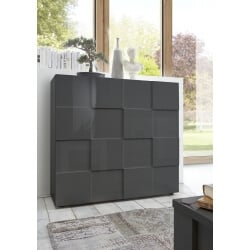 Vaisselier/argentier 2 portes design laqué gris brillant Sabrina
