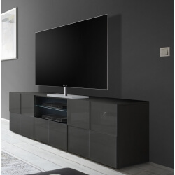 Meuble TV design 180 cm laqué gris brillant Sabrina