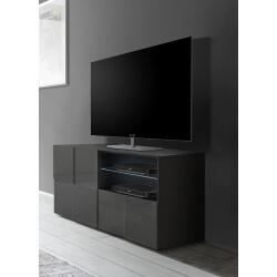 Meuble TV design 120 cm laqué gris brillant Sabrina