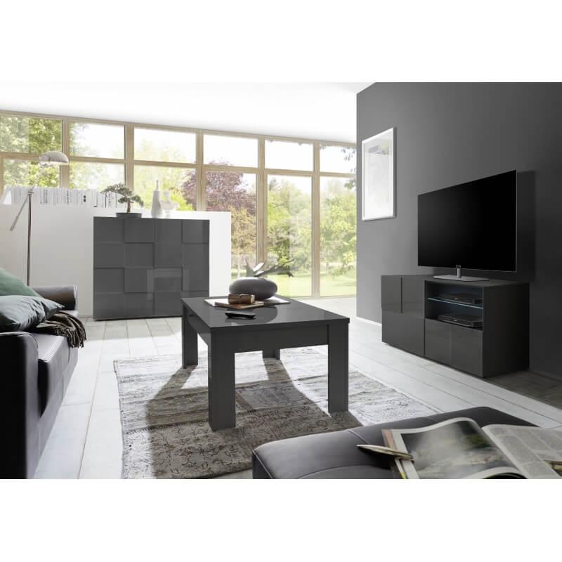 Meuble tv design 120 cm laqu gris brillant sabrina matelpro - Meuble tv 120 cm ...