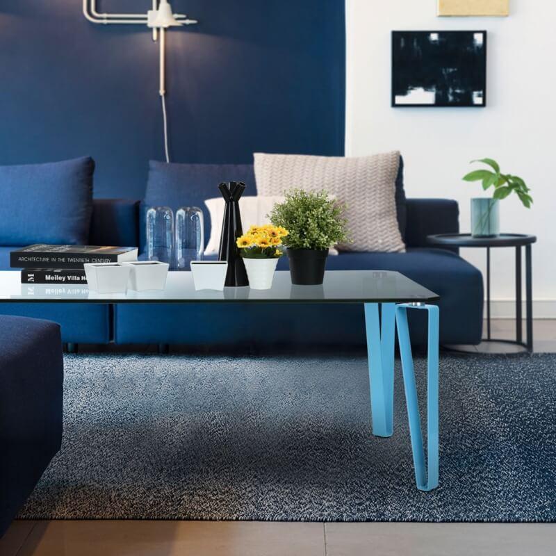 table basse design rectangulaire m tal et verre coloris. Black Bedroom Furniture Sets. Home Design Ideas