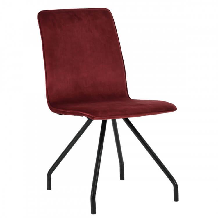 Chaise De Salle à Manger Design En Velours Rouge (lot De 2) Evelyne