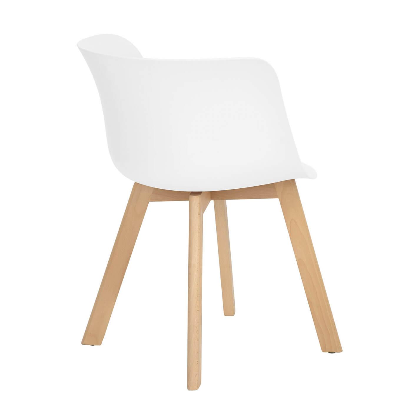 Chaise de salle manger design bois et pvc blanc lot de 4 ameline matelpro - Salle a manger design bois ...