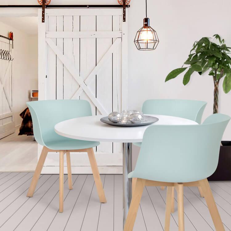 Chaise De Salle à Manger Design Bois Et Pvc Bleu Lot De 4 Ameline