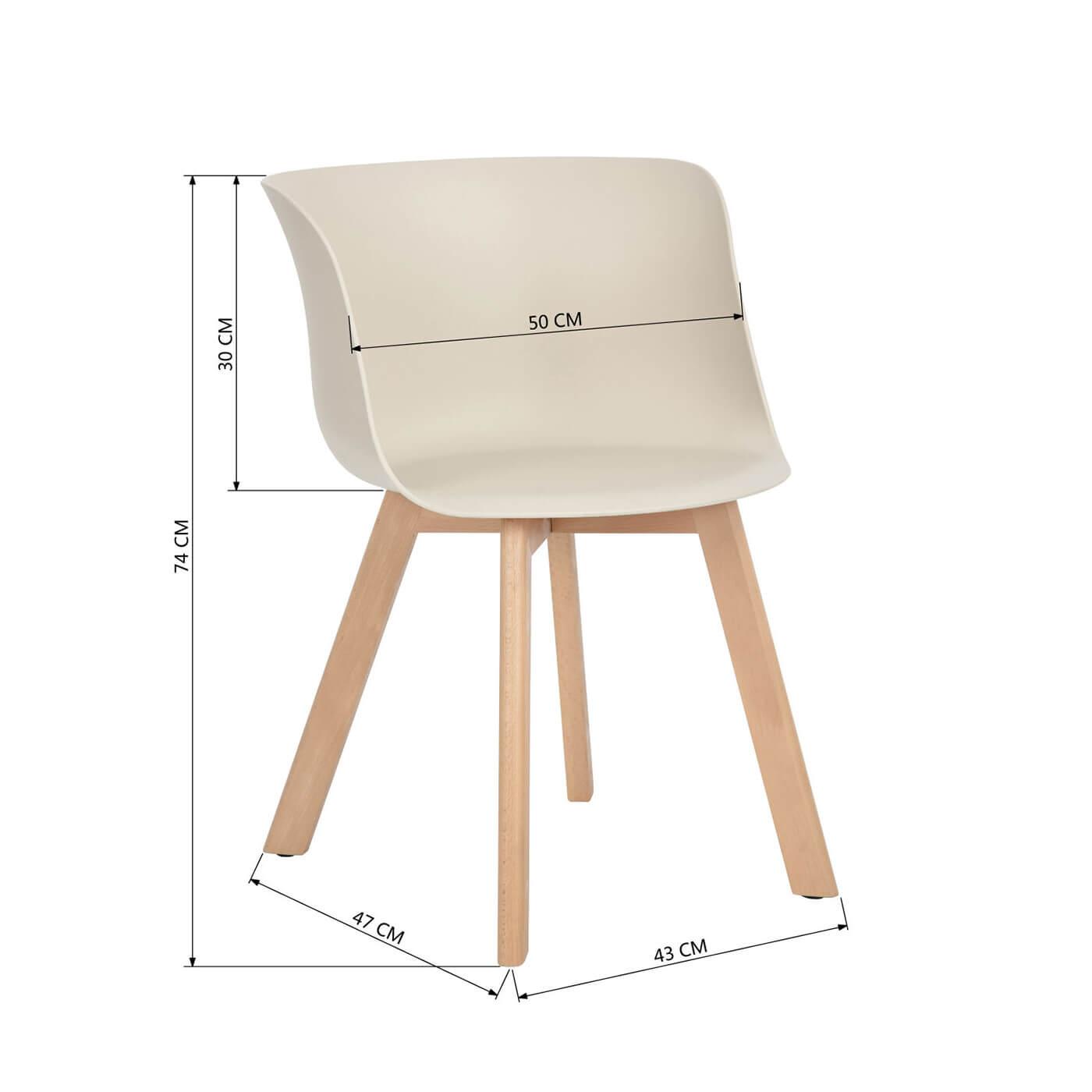 Chaise de salle manger design bois et pvc cr me lot de 4 ameline matelpro - Salle a manger design bois ...