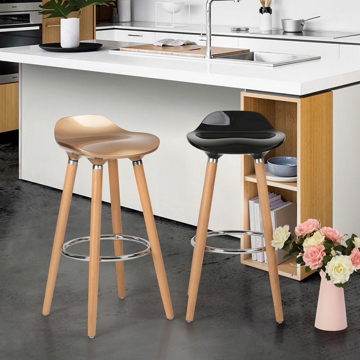 tabouret de bar design bois et abs coloris ch ne noir lot de 2 dalhia matelpro. Black Bedroom Furniture Sets. Home Design Ideas