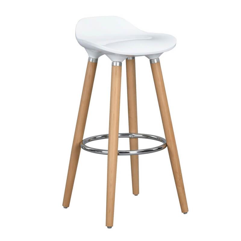 tabouret de bar design bois et abs coloris ch ne blanc. Black Bedroom Furniture Sets. Home Design Ideas