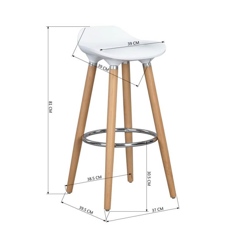 tabouret de bar design bois et abs coloris ch ne blanc lot de 2 dalhia matelpro. Black Bedroom Furniture Sets. Home Design Ideas