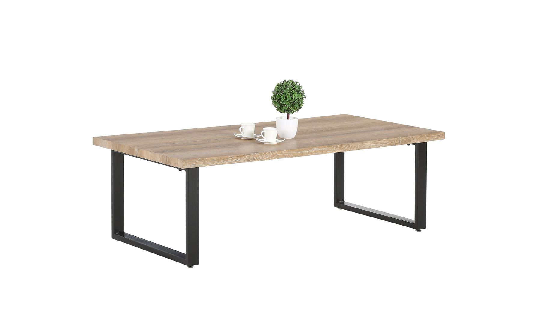 Table Basse Design Rectangulaire Métal Et Bois Coloris Chênenoir
