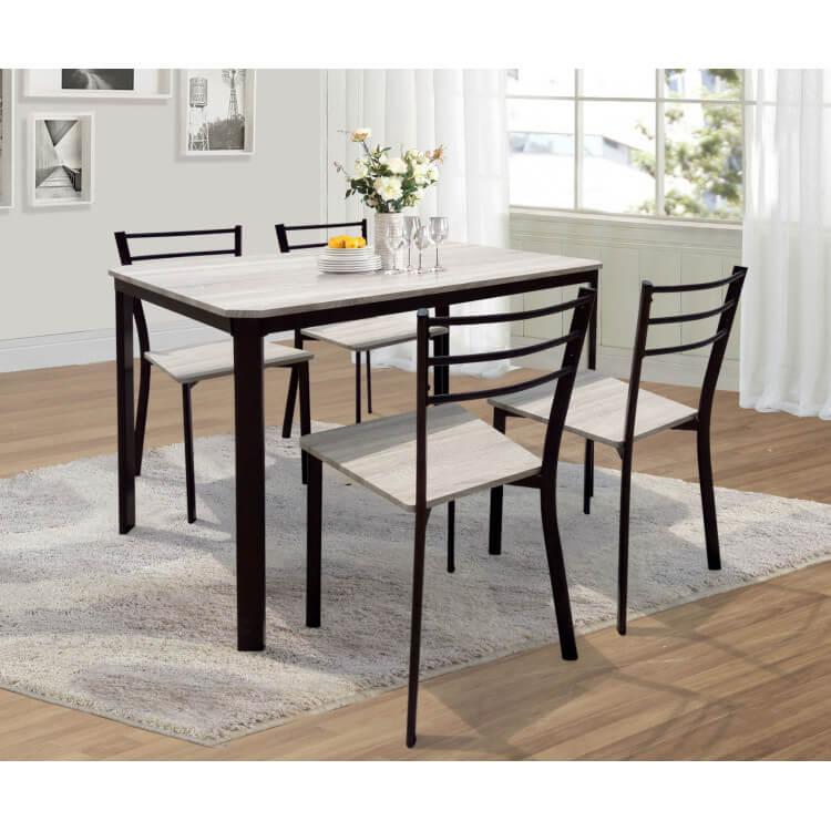Ensemble table et 4 chaises contemporain métal et bois coloris chêne calvine
